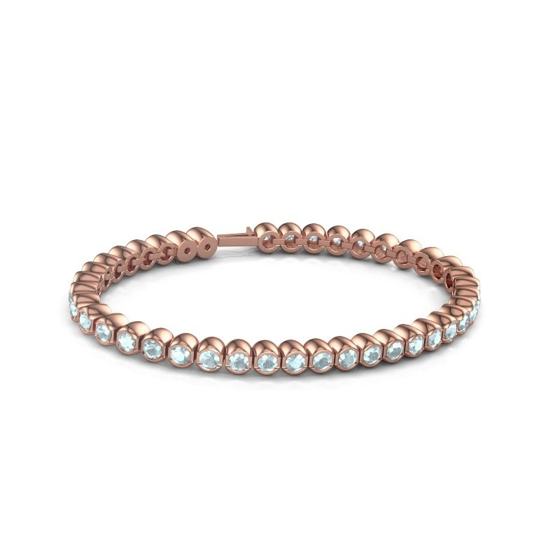 Tennisarmband Mellisa 375 rosé goud aquamarijn 3.5 mm