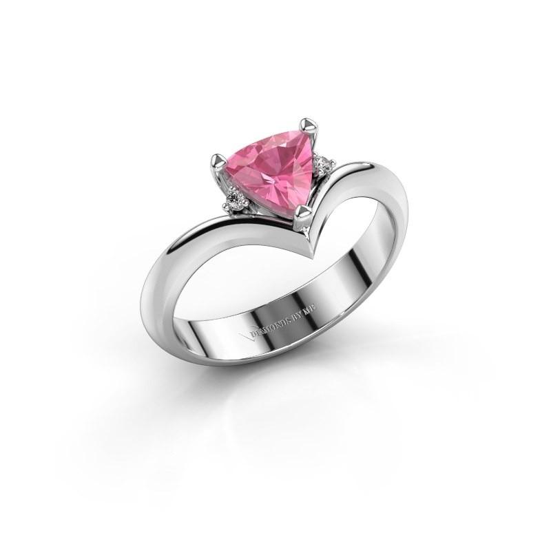Ring Arlette 950 platina roze saffier 7 mm