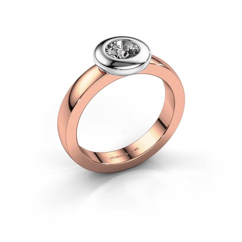 Bague Iris 585 or rose diamant 0.50 crt
