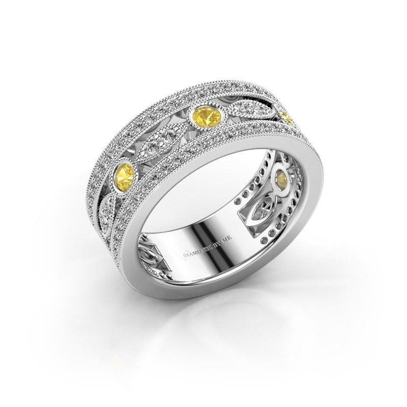Ring Jessica 950 platina gele saffier 2.5 mm