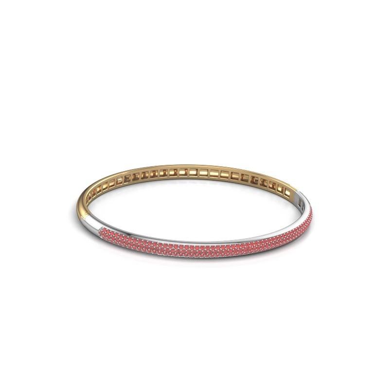 Slavenarmband Emely 4mm 585 goud robijn 1.1 mm
