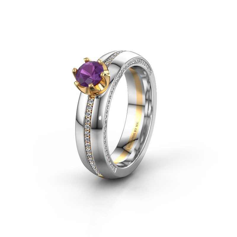 Huwelijksring WH0416L25E 585 goud amethist ±5x2.6 mm