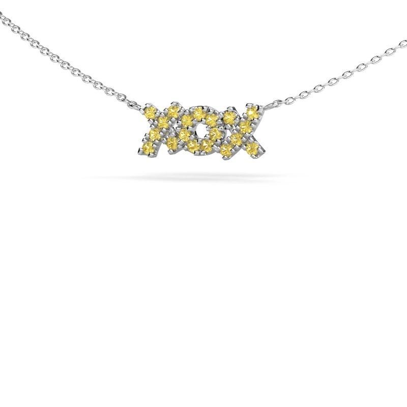 Collier XoX 925 argent saphir jaune 1.5 mm