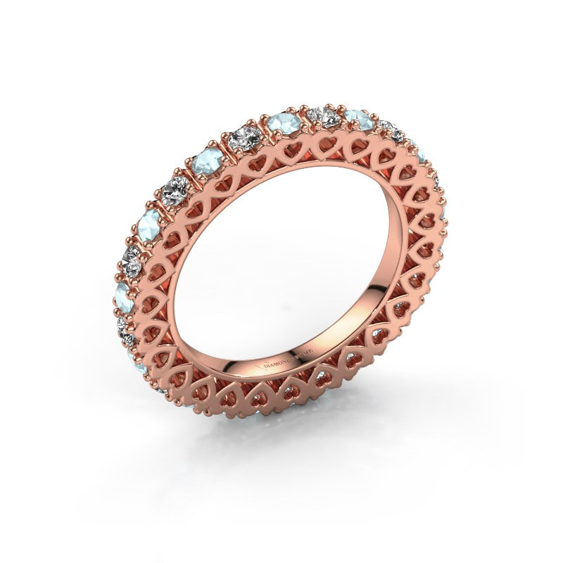 Stackable ring Hailey 585 rose gold aquamarine 2.2 mm