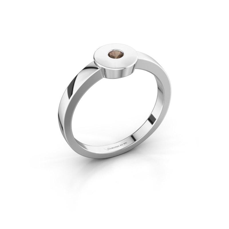 Ring Elisa 585 white gold smokey quartz 3 mm