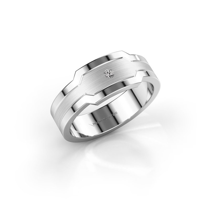 Heren ring Guido 950 platina diamant 0.03 crt