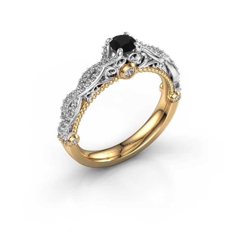 Verlovingsring Chantelle 585 goud zwarte diamant 0.656 crt