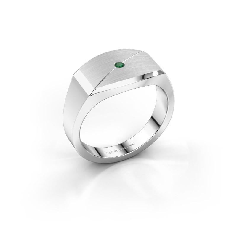 Heren ring Joe 5 925 zilver smaragd 2 mm