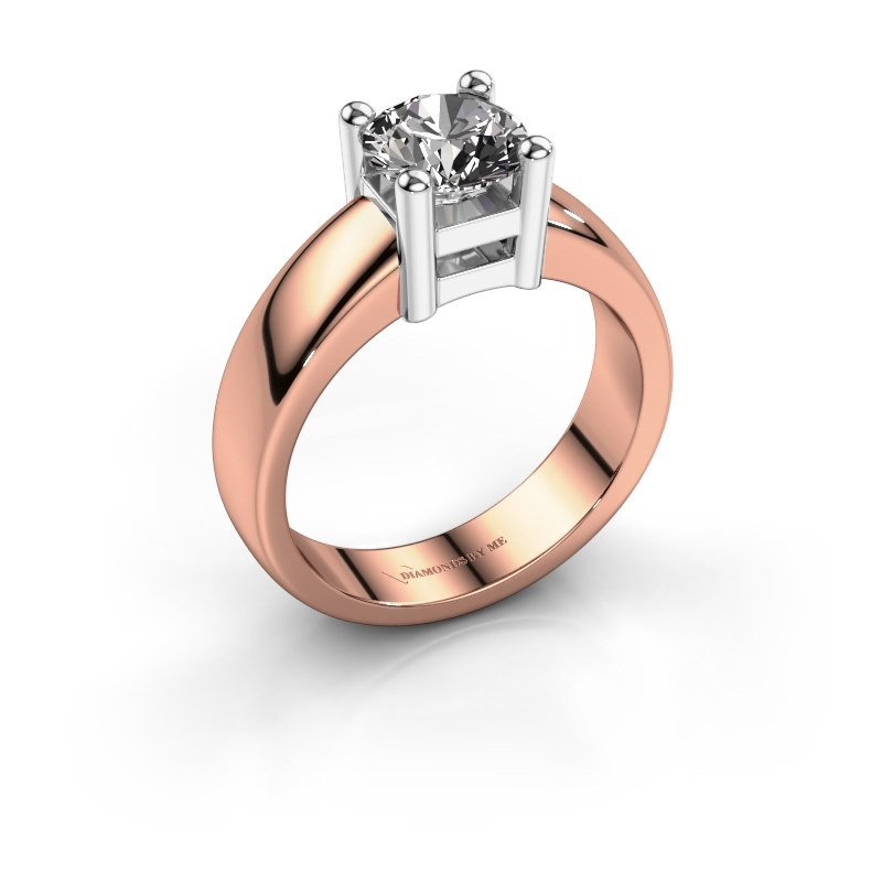 Promise ring Eline 1 585 rosé goud diamant 1.00 crt