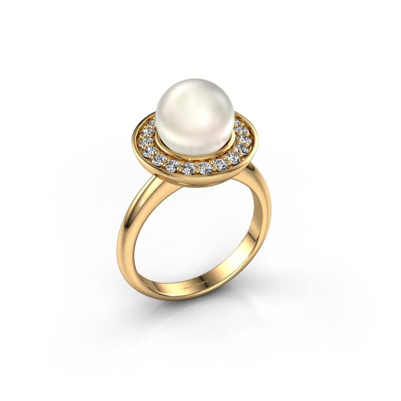 Ring Sarah 585 goud witte parel 9 mm