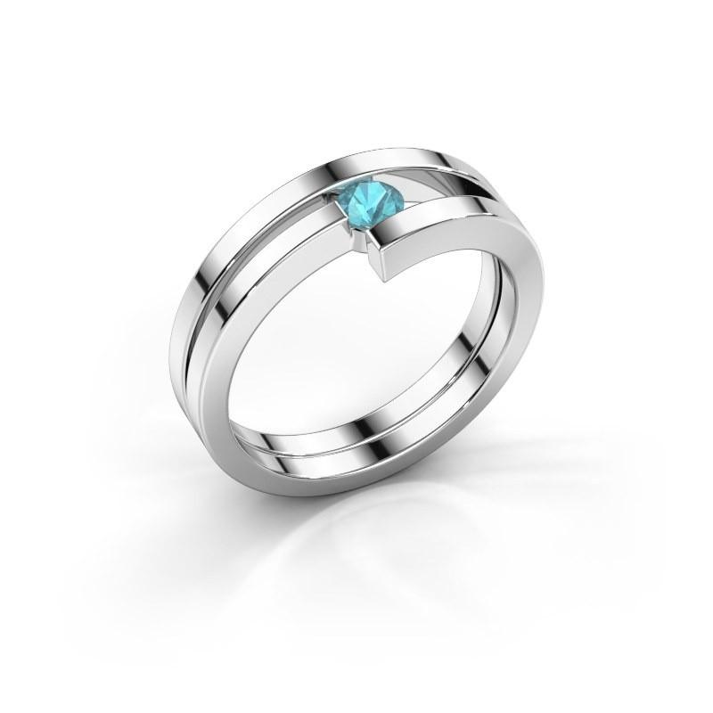 Ring Nikia 950 platina blauw topaas 3.4 mm