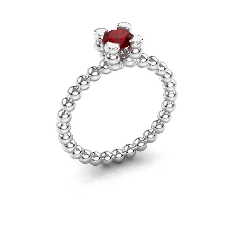 Ring Aurore 585 witgoud robijn 5 mm