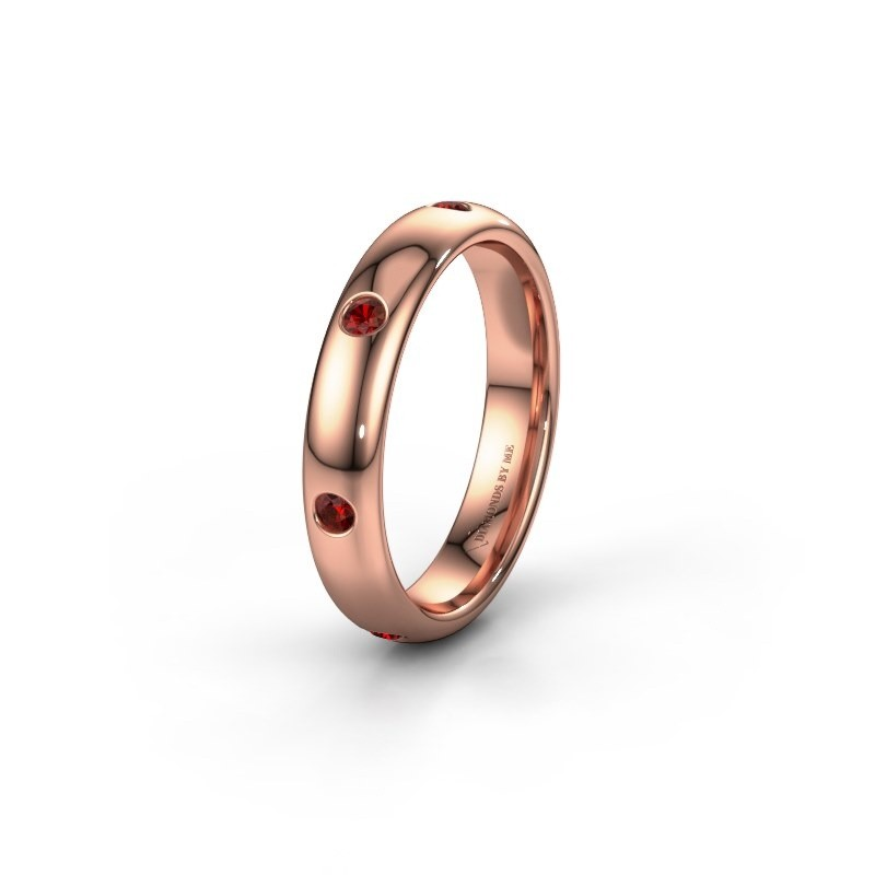 Wedding ring WH0105L34BP 585 rose gold garnet ±4x2 mm