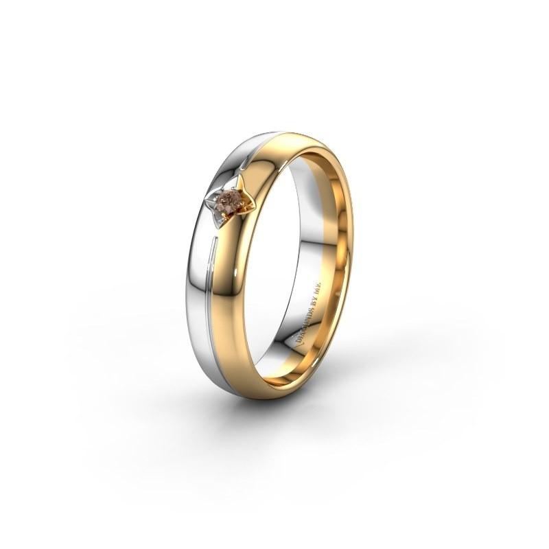 Trouwring WH0221L35X 585 goud bruine diamant ±5x1.5 mm