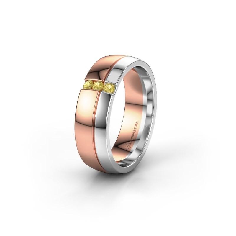 Trouwring WH0223L56A 585 rosé goud gele saffier ±6x1.7 mm