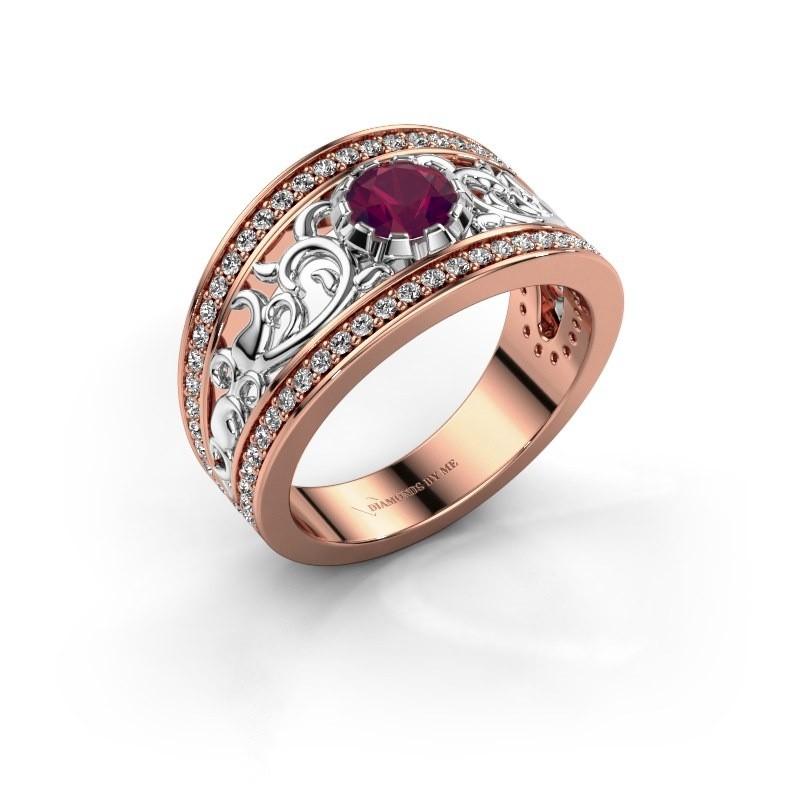 Ring Marilee 585 rosé goud rhodoliet 5 mm