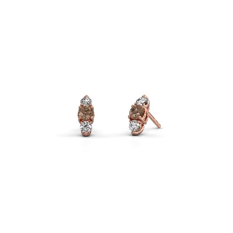 Oorbellen Amie 375 rosé goud bruine diamant 0.90 crt