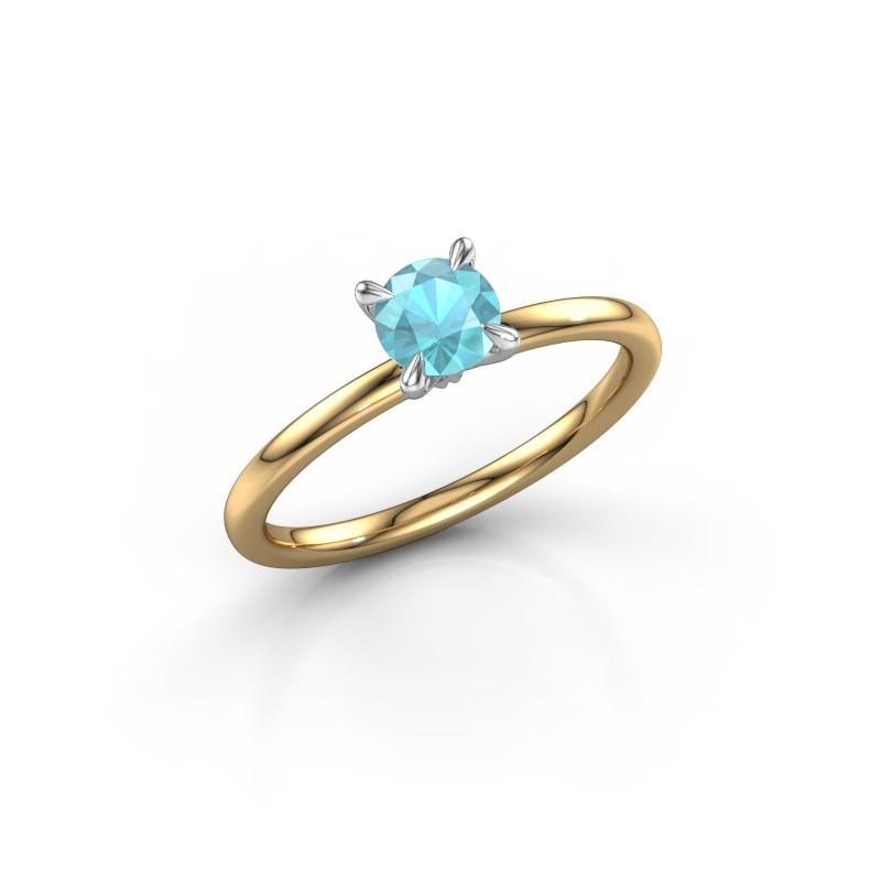 Verlovingsring Crystal RND 1 585 goud blauw topaas 5 mm