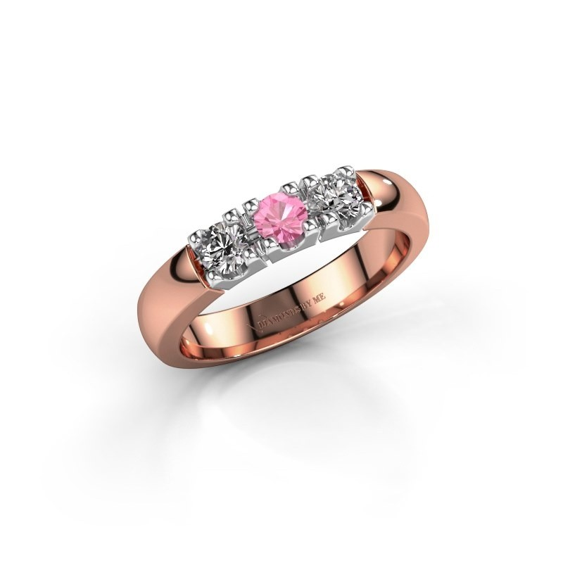 Engagement ring Rianne 3 585 rose gold pink sapphire 3.4 mm