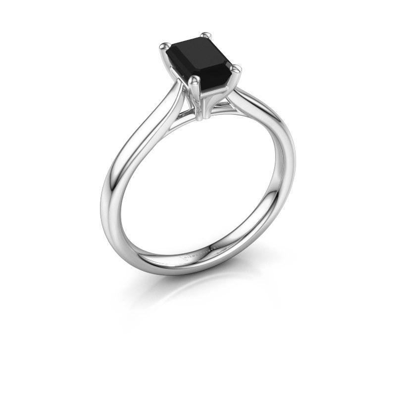 Verlovingsring Mignon eme 1 585 witgoud zwarte diamant 1.08 crt
