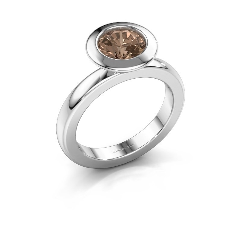 Stapelring Trudy Round 585 witgoud bruine diamant 1.30 crt