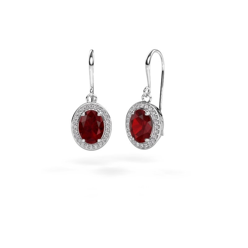 Drop earrings Latesha 375 white gold ruby 8x6 mm