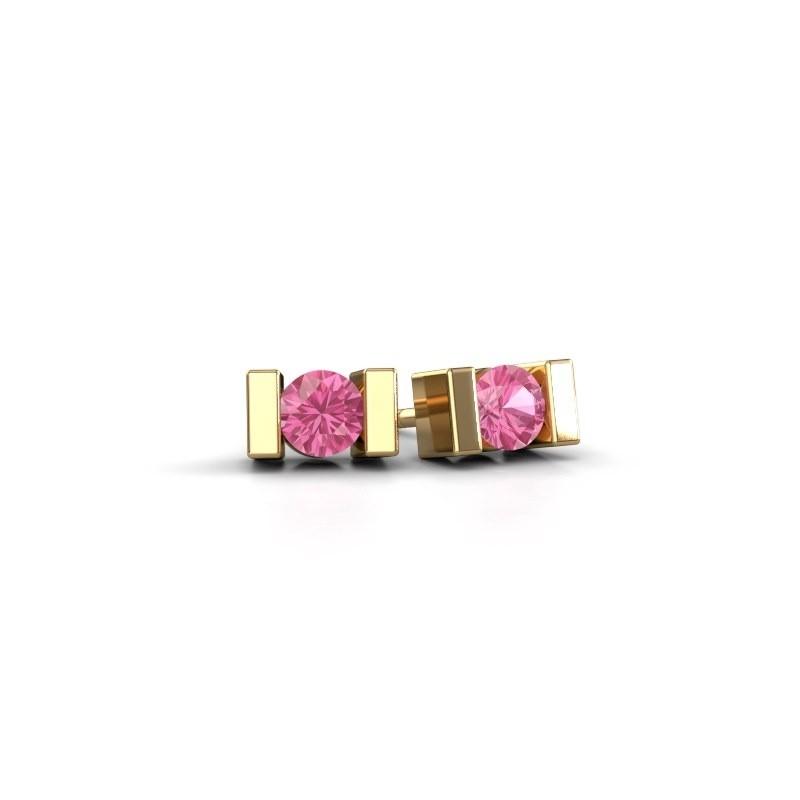 Oorstekers Lieve 585 goud roze saffier 3.7 mm