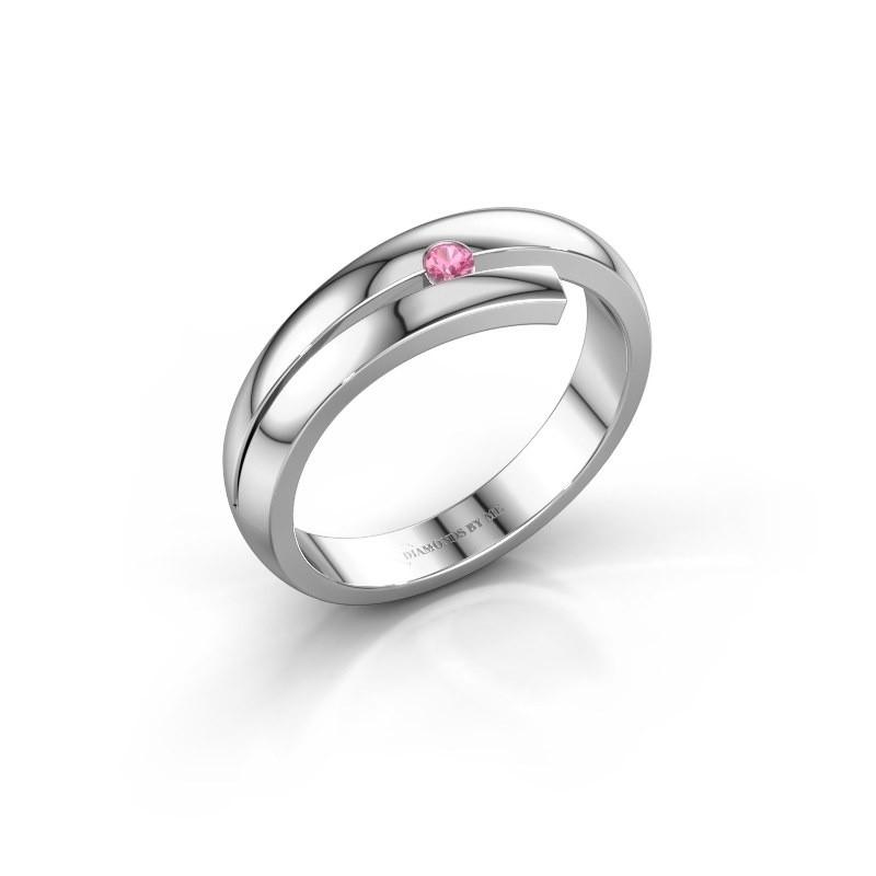 Ring Shela 585 witgoud roze saffier 2.2 mm