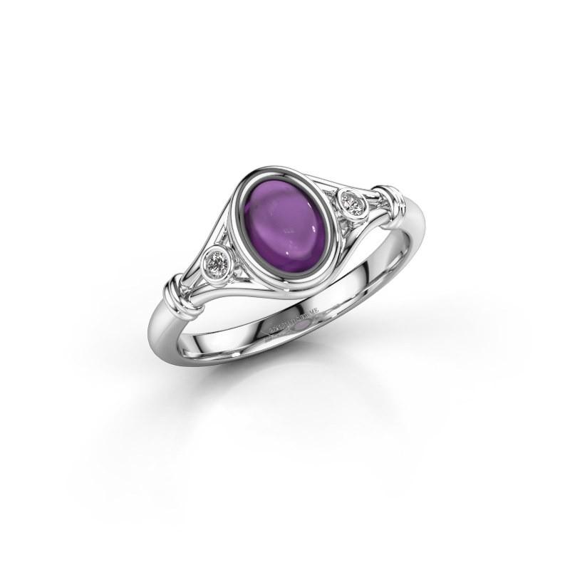 Ring Scarlett 585 witgoud amethist 7x5 mm