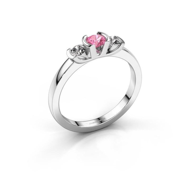 Ring Lucia 950 platinum pink sapphire 3.7 mm