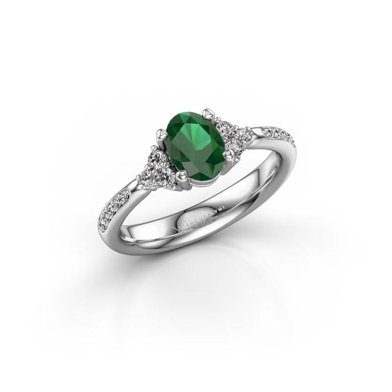 Engagement ring Aleida OVL 2 950 platinum emerald 7x5 mm