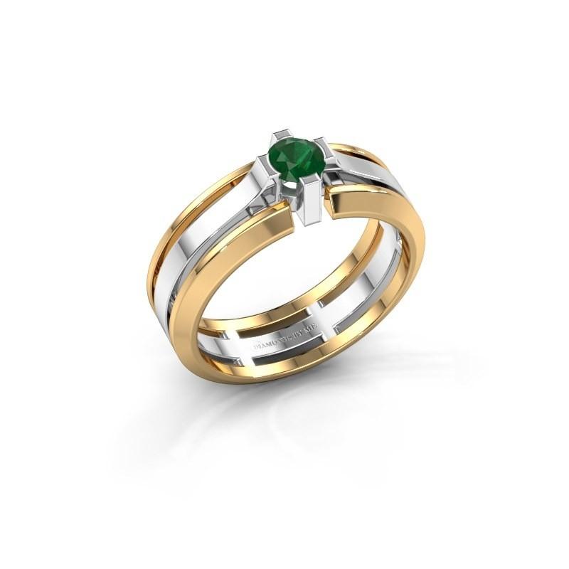 Heren ring Sem 585 witgoud smaragd 4.7 mm