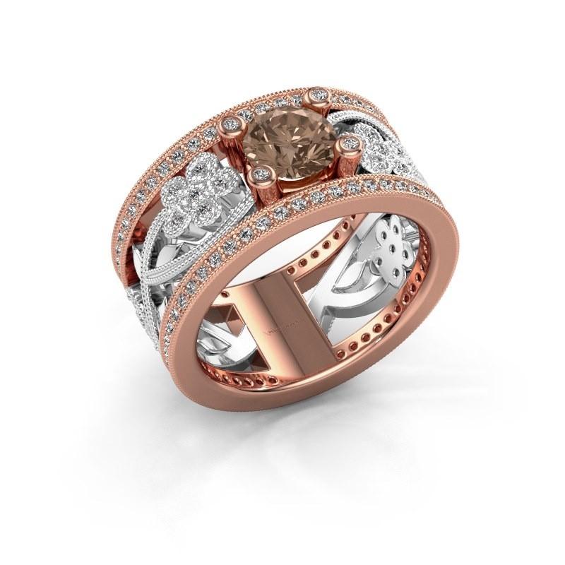 Ring Severine 585 rosé goud bruine diamant 1.405 crt