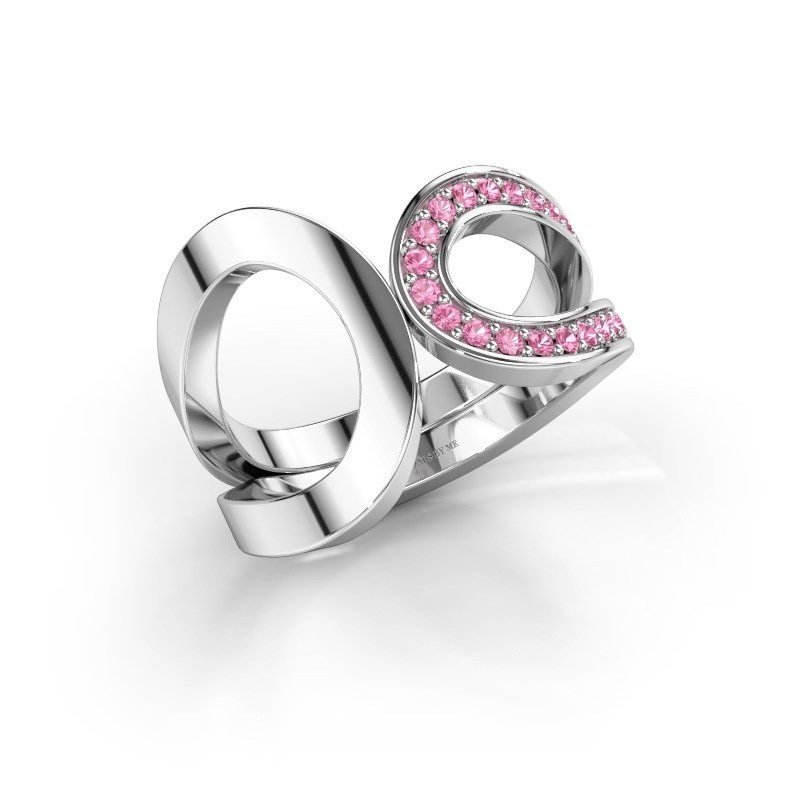 Ring Aniek 585 witgoud roze saffier 1.3 mm