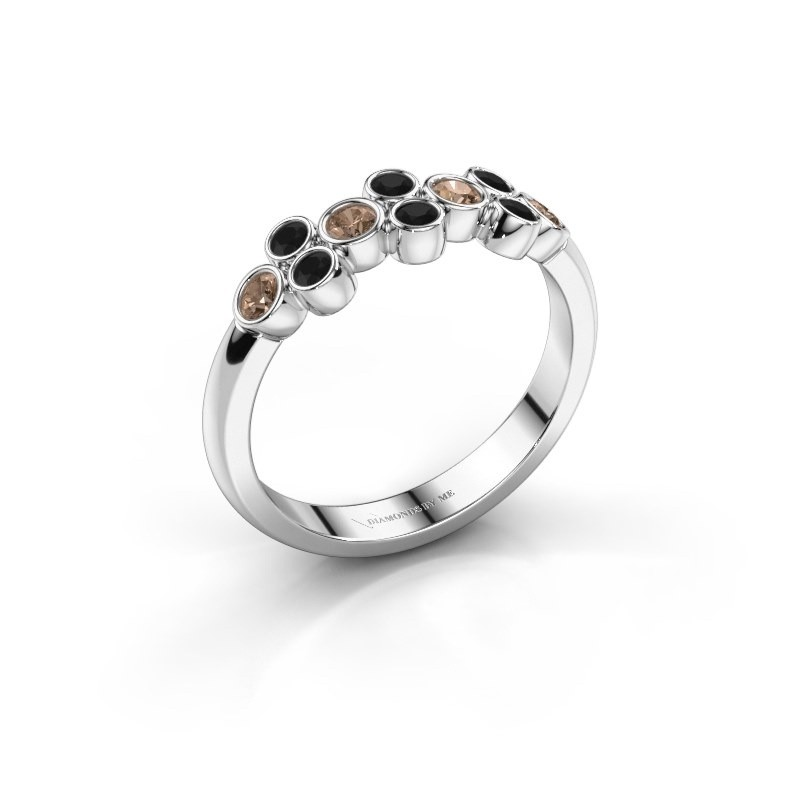 Ring Kayleigh 925 silver brown diamond 0.436 crt