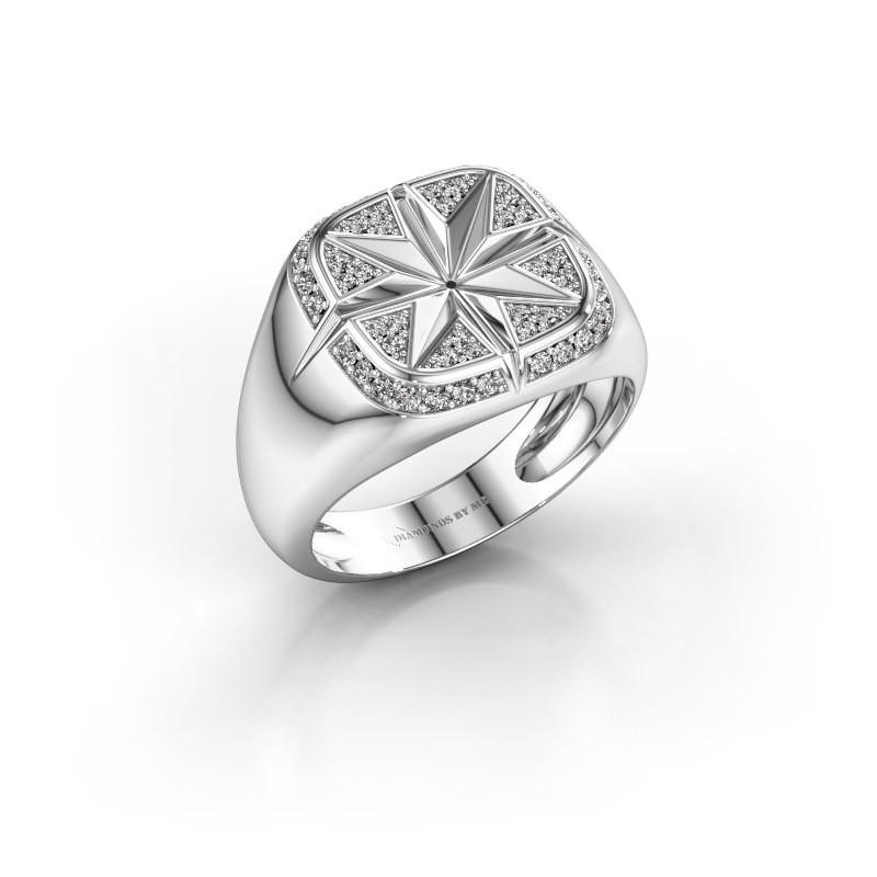 Heren ring Ravi 375 witgoud zirkonia 1 mm
