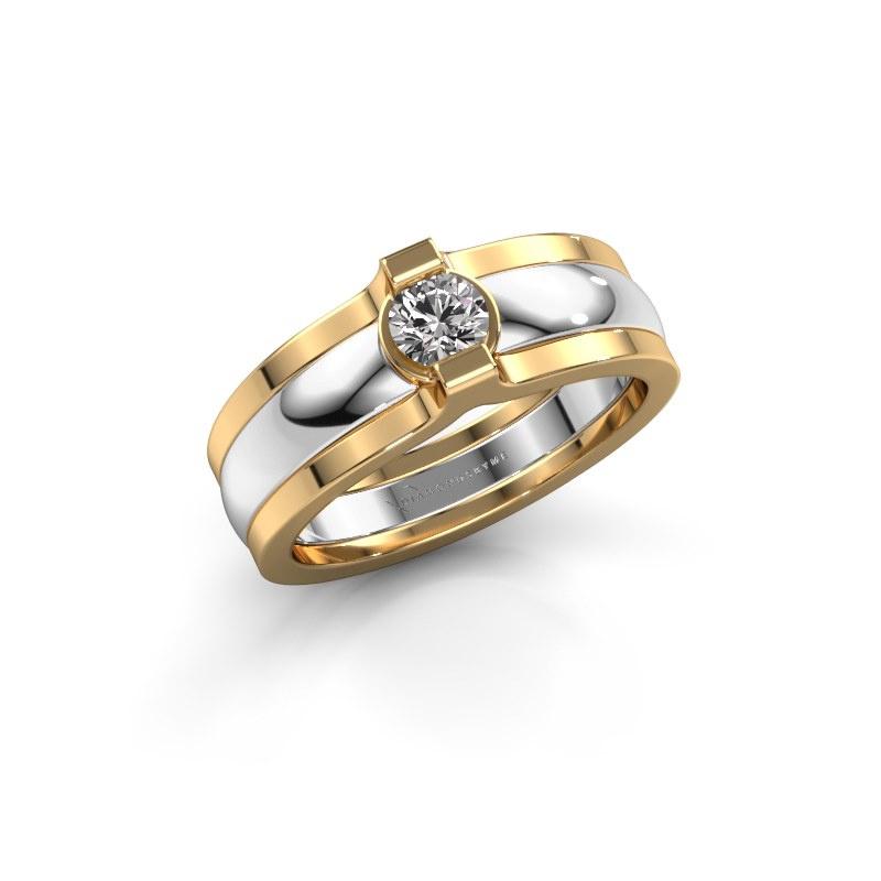 Ring Jade 585 white gold zirconia 4 mm