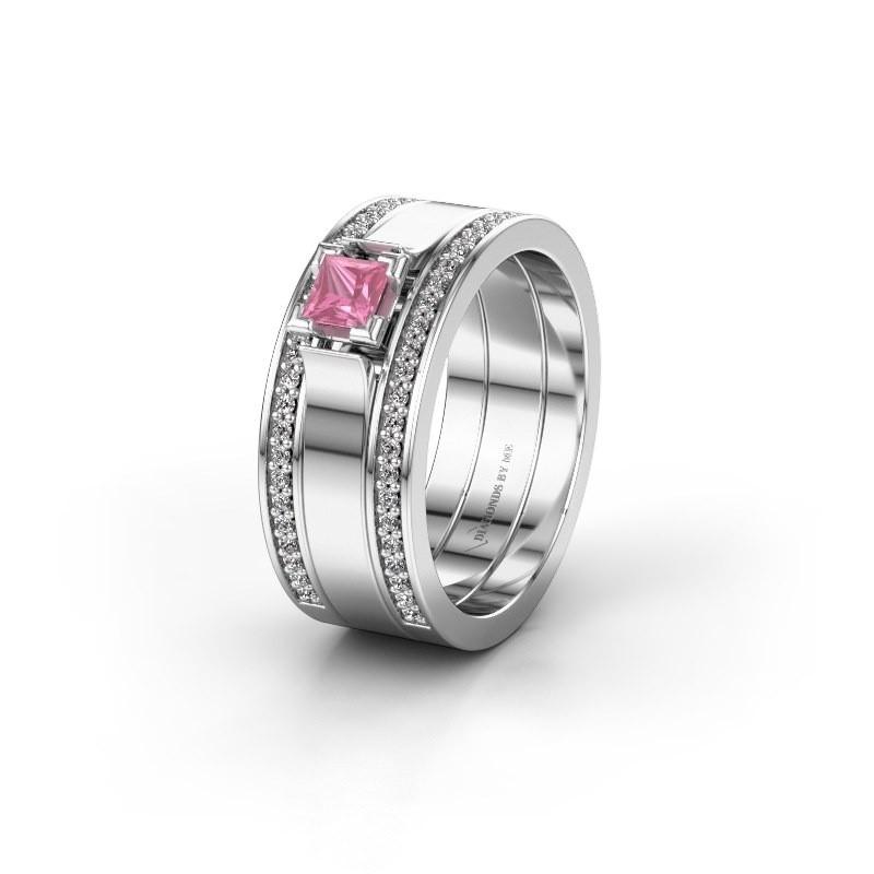 Trouwring WH2121L 585 witgoud roze saffier ±8x1.7 mm