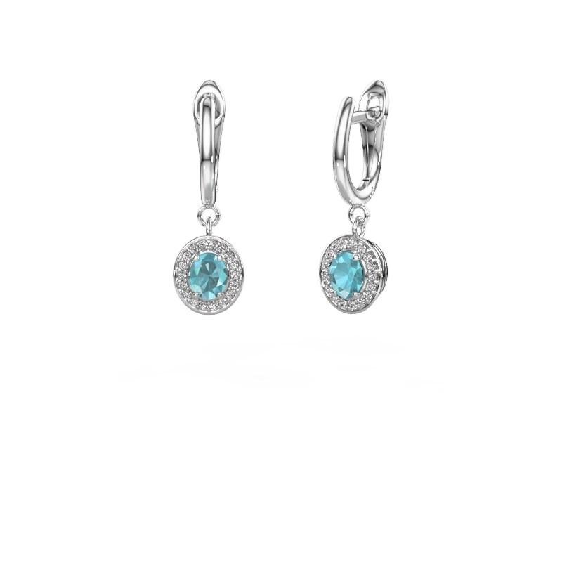 Drop earrings Nakita 585 white gold blue topaz 5x4 mm