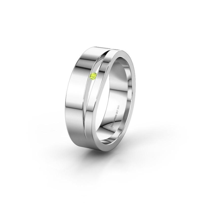 Trouwring WH6000L16AP 925 zilver peridoot ±6x1.7 mm