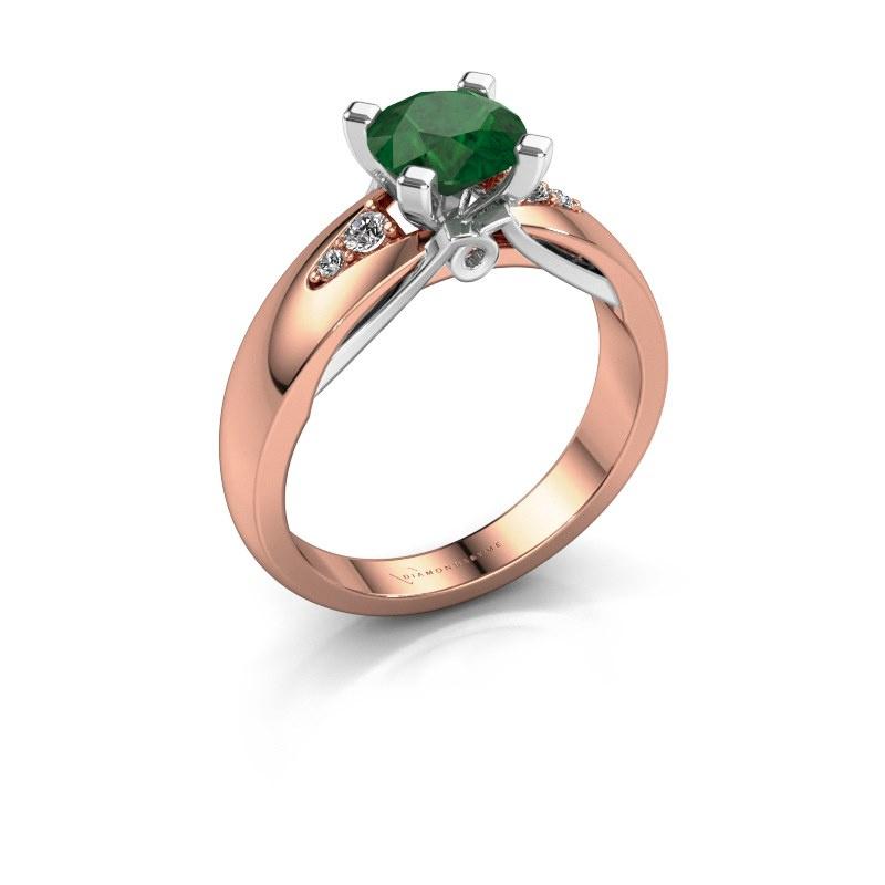 Engagement ring Ize 585 rose gold emerald 6.5 mm