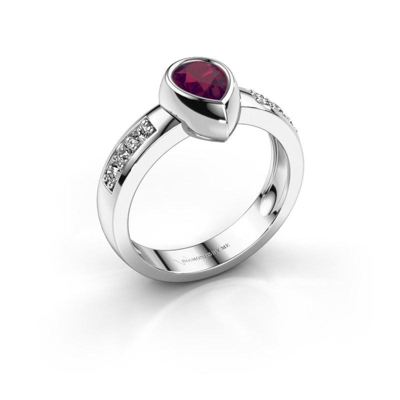 Ring Charlotte Pear 925 silver rhodolite 8x5 mm