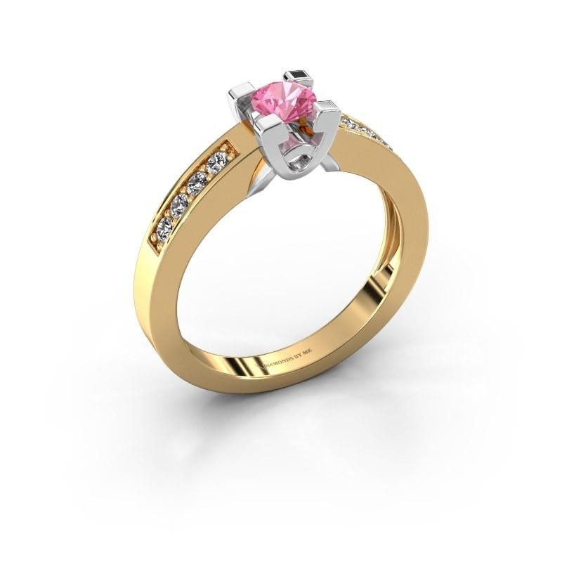 Verlovingsring Nina 2 585 goud roze saffier 4.2 mm