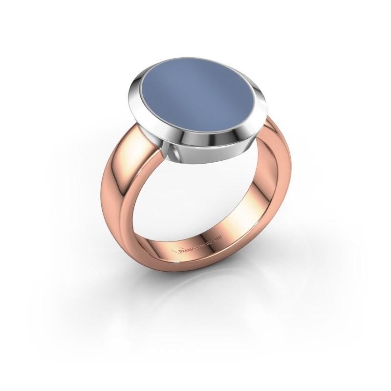 Zegelring Oscar 4 585 rosé goud licht blauwe lagensteen 15x12 mm