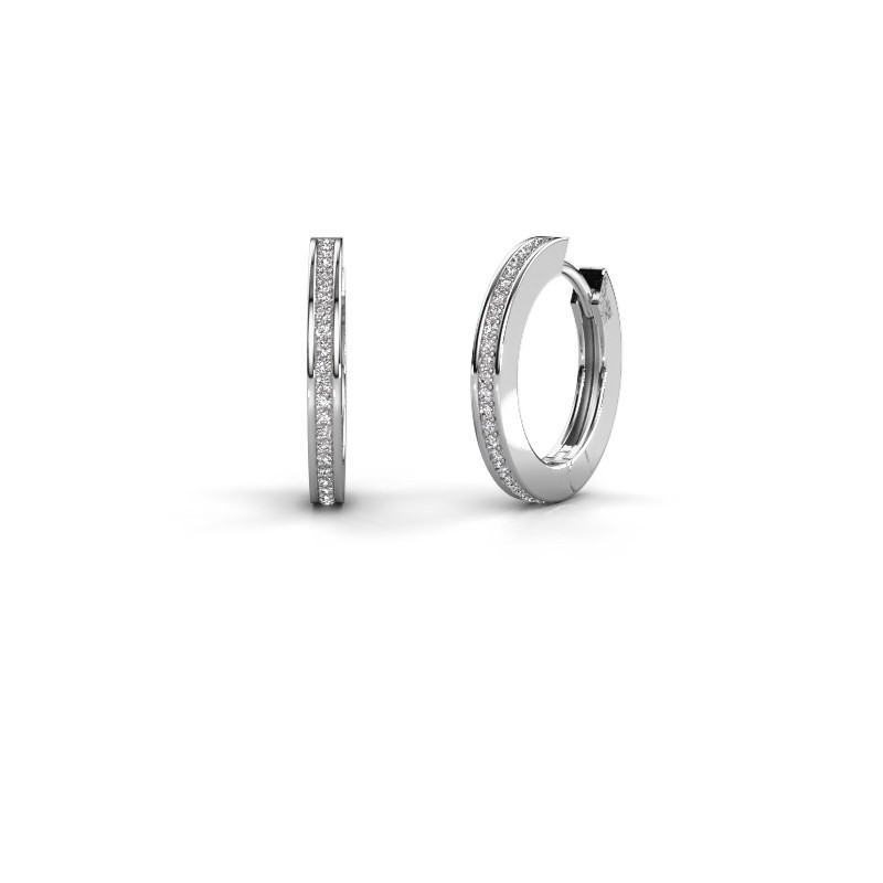 Creolen Renee 4 12 mm 950 platina diamant 0.38 crt