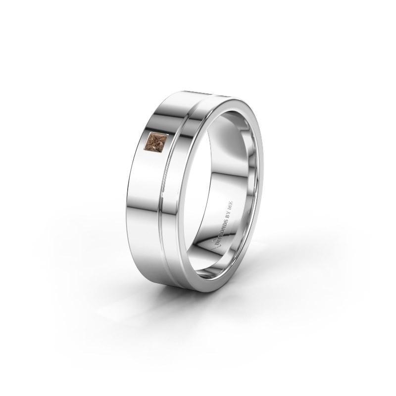 Trouwring WH0301L16APSQ 585 witgoud bruine diamant ±6x1.7 mm