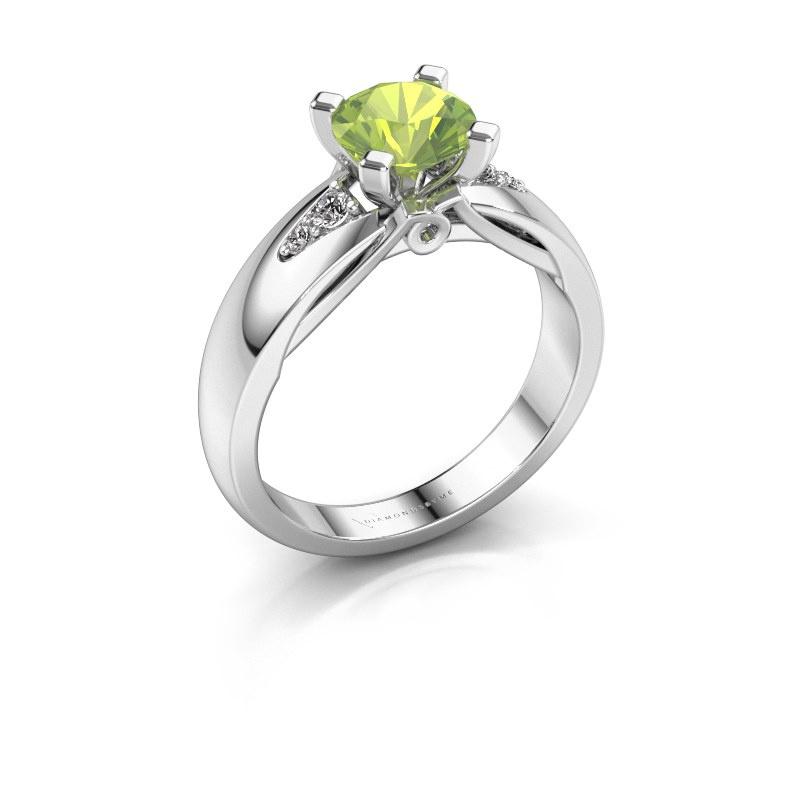 Engagement ring Ize 925 silver peridot 6.5 mm
