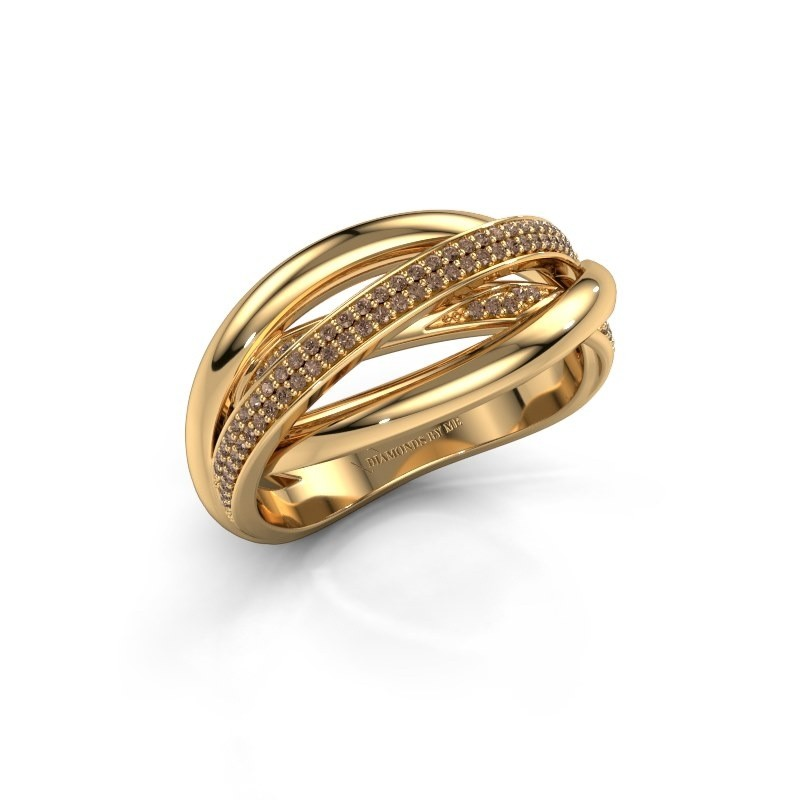 Ring Candice 375 goud bruine diamant 0.24 crt
