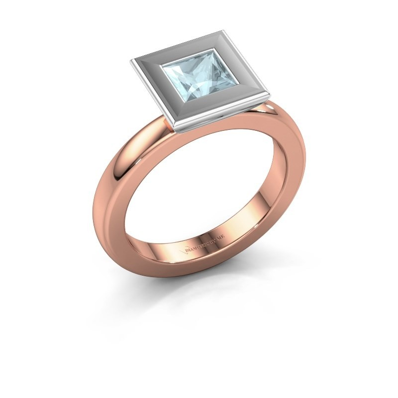 Stapelring Eloise Square 585 rosé goud aquamarijn 5 mm