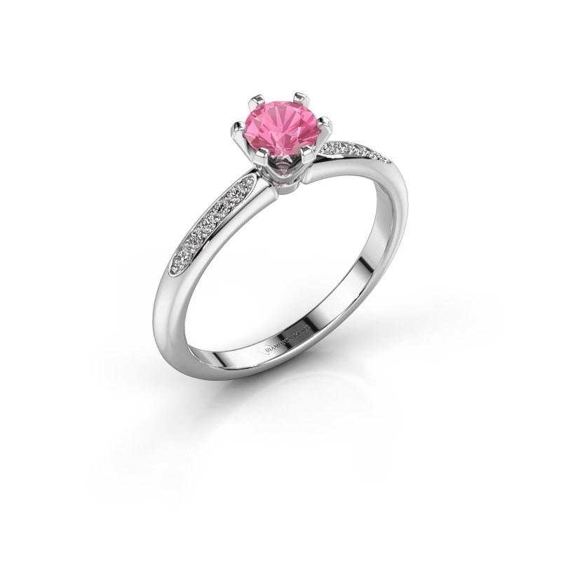 Verlovingsring Tiffy 2 585 witgoud roze saffier 4.7 mm